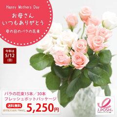 【送料無料】母の日 ピンク バラ の花束 メッセージカード ピンクリボンチャリティ 誕生日 結婚...