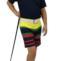 ゴルフウェアメンズパンツハーフパンツボーダーオレンジネイビー紺グリーンイエローUVカット吸水速乾熱遮断機能素材涼しいポリエステルMLXLメンズウェア