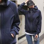 2020初秋新作 韓国ファッション 肌寒い日のアウターに今秋トレンドクールでおしゃれなハイネックフード付き裏起毛パーカーゆったり感体型カバー フード付き