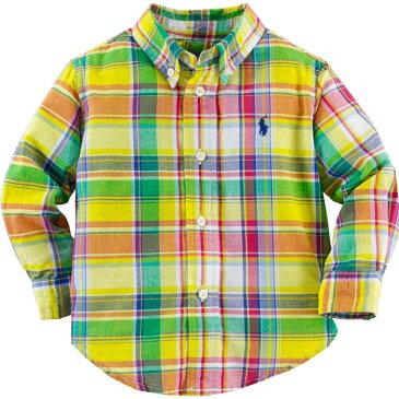 Ralph Lauren(ラルフローレン) 長袖マドラスチェックワンポイントボタンダウンシャツ(Yellow)【9M】