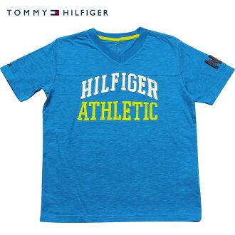 Tommy Hilfiger(tomihirufiga)HILFIGER ATHLETIC V字領標識T恤(OceanBlue)