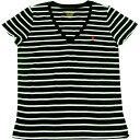 【レディース】POLO RALPH LAUREN(ポロ ラルフローレン) VネックボーダーワンポイントTシャツ(Black)