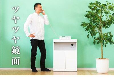 完成品電話台FAX台ファックス台ルーター収納モデム収納wifi収納プリンター台ホワイト・白TEL台チェストキャビネット電話台前面鏡面モダンファックス台シンプル完成