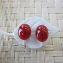 高知産血赤珊瑚のオーバルイヤリング(9.3×7.6ミリ)/K18WG/天然/『宝石サンゴ』