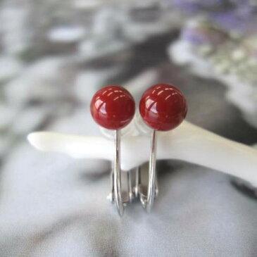 高知産血赤珊瑚のイヤリング(5.5ミリ玉)/K18WG/イヤーアクセ/『宝石サンゴ』