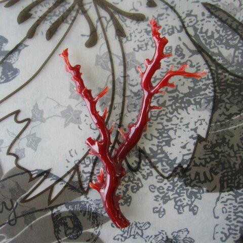 高知産血赤珊瑚の枝パーツ手作り/天然サンゴ・さんご:珊瑚職人館ー土佐