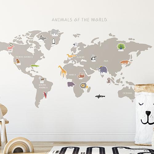 ホームインテリア _ ウォールステッカー、世界地図、動物、学習、遊ぶ、アニマル、ワールド