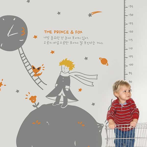 ウォールステッカー 北欧 身長計 トイレ 誕生日 子供部屋 動物 キャラクター 星の王子の背比べの写真