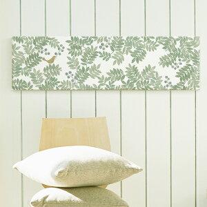 ファブリックパネル グリーンが鮮やかなボタニカルデザインがおしゃれ!インテリア アート パネル 北欧 グリーン おしゃれ ファブリックボード 木製 ウォールデコ キャンバス サンサンフー グリーンリーブス88x25