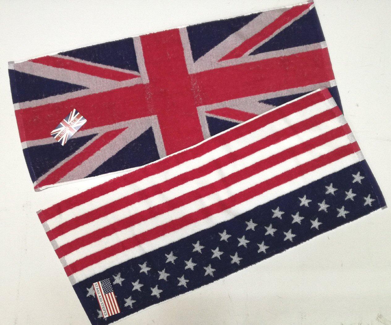【2枚セット】 国旗柄 フェイスタオル 2枚セット 81×35cm アメリカ国旗 星条旗 イギリス国旗 ユニオンジャック コットン100% 綿100%