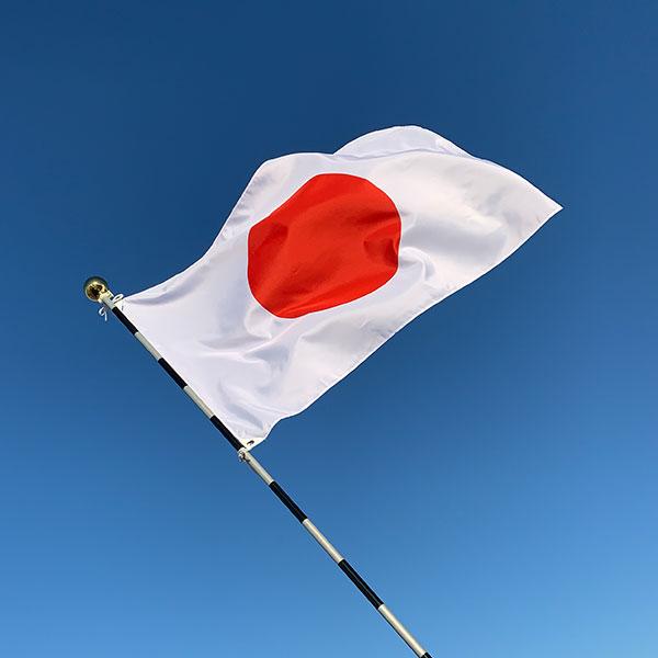 東京製旗 日本国旗 Cセット(テトロン素材:70×105cm・組立ポール:3m6段) 11760 1セット