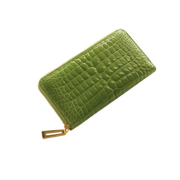 クロコダイル 長財布 シャイニング加工 センター取り 真鍮 ラウンドファスナー バイカラー/レディース ライム 緑 送料無料まるで本物の宝石のような輝きクロコダイルと真鍮のロングウォレット 手元をエレガントに(No.3