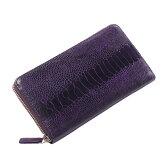 オーストリッチ レッグ 長財布 ラウンド メタル ファスナー / メンズ レディース バイオレット 紫 バイオレット