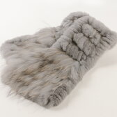 毛皮 ファー レッキス&ラクーン マフラー 編み込み / レディース グレー 灰色 鼠色