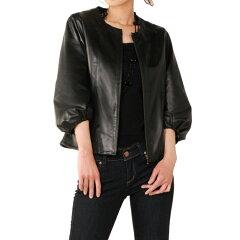 ラムレザー ジャケット バルーンスリーブ ノーカラー 七分袖 サイズ:7号[S] カラー:ブラ…