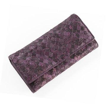 【訳あり】パイソン メッシュ 長財布 かぶせ/レディース パープル 紫 バイオレット 送料無料メッシュデザインでカジュアル&軽やかに 大きく開いて見やすいかぶせ式のパイソンメッシュ長財布 (No.06000405)