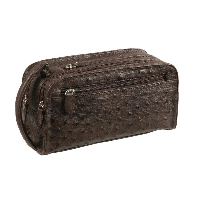 オーストリッチ セカンド バッグ Wファスナー/メンズ ニコチン 茶色 セカンドバッグ 紳士 ギフト (No.9955-zz-nir)