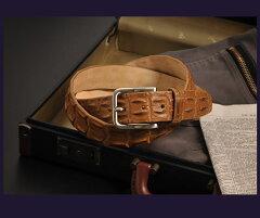 イタリア製ポロサスホーンバックベルト40mm/メンズシングルバックル(No.06000670-mens-1)クロコダイル鰐革ワニ革本革