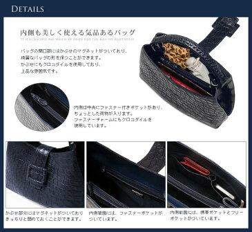 クロコダイル ワンショルダー バッグ マット加工/レディース ブランデー 茶色
