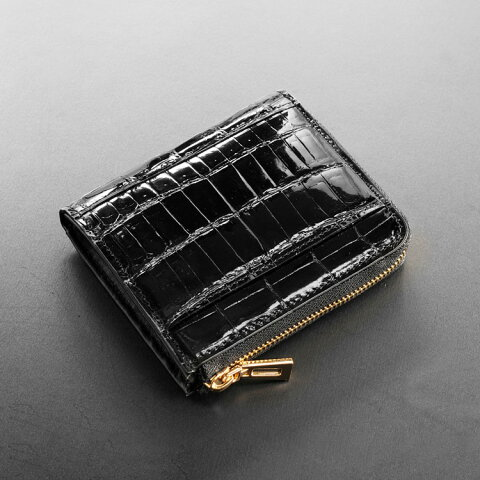 3ac320c24be3 ヘンローン社製 原皮 クロコダイル L字ファスナー コンパクト 財布 パールゴールド メンズ ブラック カード収納8枚 ワニ革 二つ折りでお札が入る。