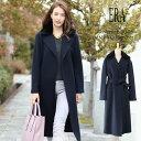ERA/エラ カシミヤ 100% コート ミンク 襟 コート ロング 着丈116cm レディース 冬 ネイビー ギフト 母 女性 プレゼント