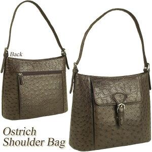dc884bb0a0a0 オーストリッチ ショルダーバッグ レディース 鞄 ダチョウ革 女性用 オーストリッチバッグ ブラック 軽量 本物 ギフト プレゼント