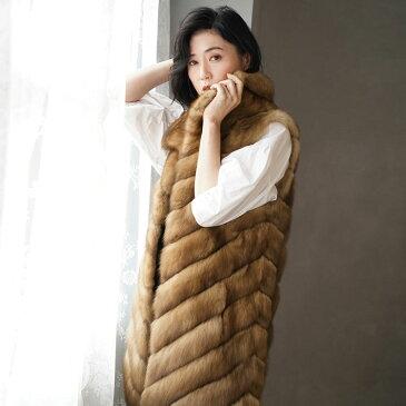 ロシアンセーブル ロング ベスト レディース フリーサイズ 毛皮の王様ロシアンセーブルの贅沢で存在感あふれるファーベスト。テン 高級 本物 ギフト プレゼント