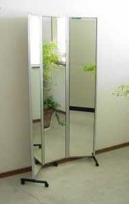 [送料無料]】【日本製】キャスター付き三面鏡姿見ムーミー 小 裏面 白色