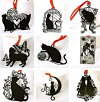 メール便送料無料 【9枚セット】 黒猫 ステンレス金属 しおり ブックマーク ラッキーキャット 猫/ねこ/ネコ/グッズ