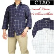 Ciao (チャオ) フレンチリネン7分袖チェックシャツ (麻) 26-302プレゼント ギフト