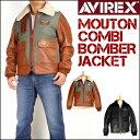 セール AVIREX アビレックス メンズ レザージャケット ムートン コンビ ボマー ジャケット 革ジャン 6171071 送料無料