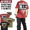 AVIREXアビレックスシーチングパッチ半袖TシャツSHEETINGPATCHEDT-SHIRTSメンズプリント刺繍ミリタリーTシャツ6113286