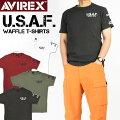 AVIREXアビレックスミニワッフルVネック半袖TシャツU.S.A.F.メンズミリタリーTシャツ6113292