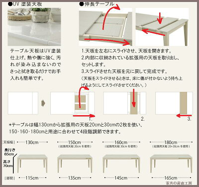 130幅〜伸長式ダイニングテーブルABBYアビーハイグロスUV塗装【大特価】