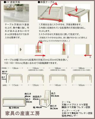 ダイニングセット4点セットテーブルチェアー2点140ベンチABBYアビー天板ハイグロスUV塗装【大特価】