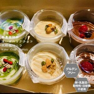 【送料込み】グルテンフリー ビーガン RAWCUPケーキ 6個セット チョコ・緑茶・塩バニラ アレルギー対応 ダイエット スイーツ ヴィーガン 小麦粉・卵・乳製品・動物性 授乳中