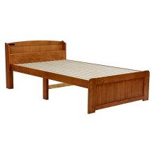 木製シングルベッドヘッドボード付床面高さ2段階すのこ床板ブラウン色