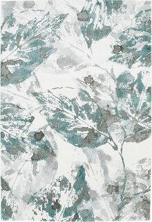 ラグカーペット160×230cmグリーン色長方形リーゼ植物柄ベルギー製ホットカーペットOK
