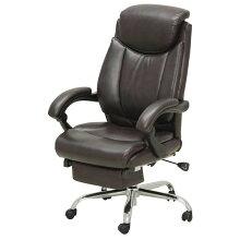 デスクチェアスライド式オットマン(足置き)内蔵/肘掛付き合成皮革張り回転オフィスチェアC-301DBダークブラウン色