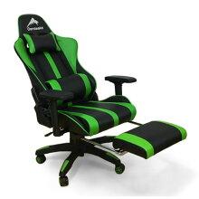 ゲーミングワークチェアオットマン付きグリーン色クッション付き高密度モールドウレタン合成皮革張り回転デスクチェアルセル