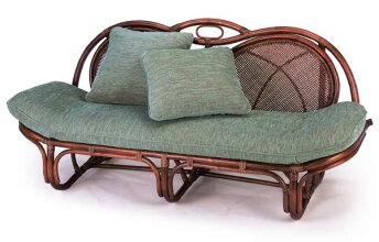 籐椅子ラタンソファー&カウチダークブラウン色A160Dスコルピス柄(グレーグリーン色)