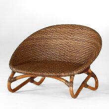 籐椅子ラタンチェアローチェアティアアンティークブラウン色フレームアジアンテイスト