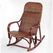 ロッキングチェアー籐(ラタン)ハイバック揺り椅子ダークブラウン色アジアンテイスト