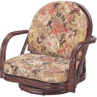 籐椅子 ラタンラウンドチェアーロータイプ回転式 座椅子