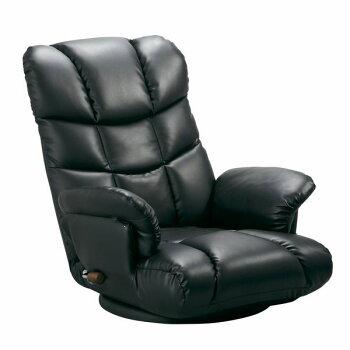 スーパーソフトレザー張り肘付きリクライニング回転座椅子神楽(かぐら)YS-1393ブラック色(黒色)