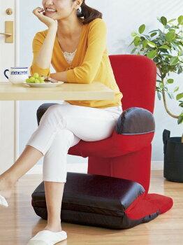 椅子/座いす完成品リクライニングトランスフォームチェアYS-1212レッド色日本製