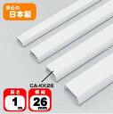 ケーブルモール 配線カバー 角型 6本収納可能 1m ホワイト 配線の整理に最適なケーブルカバー おしゃれ