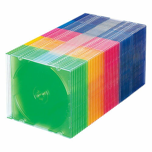 CD・DVD・ブルーレイ ケース(スリム・50枚セット・5色ミックス)画像