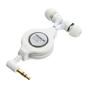 カナル型イヤホン巻き取り式ホワイトY型ケーブルiPhoneやスマホにも対応のイヤフォン