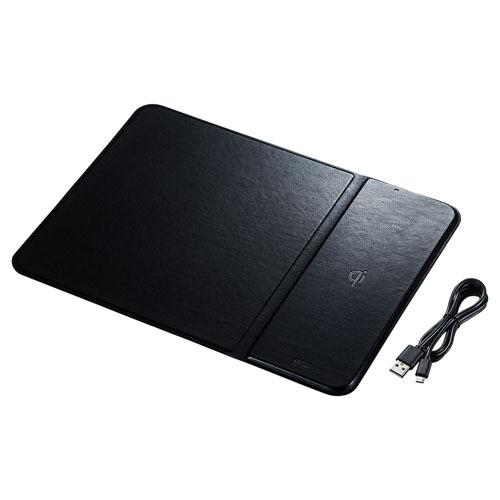 ワイヤレス充電マウスパッド置くだけ充電ワイヤレス充電Qi対応ブラックおしゃれスマートフォン充電器スマホ充電器USB充電器